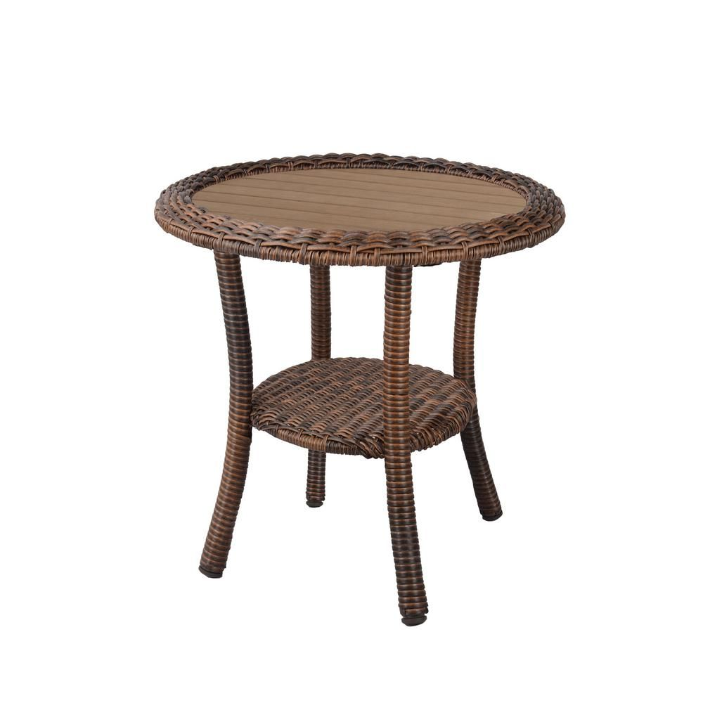Hampton Bay Cambridge Brown Wicker Outdoor Side Table 65 17148b8