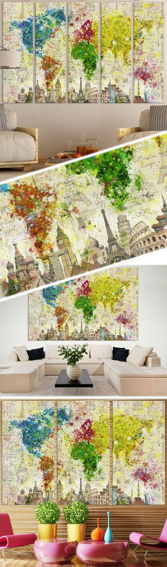 Color Splashes World Map №701 Ready to Hang Canvas Print Canvas ...
