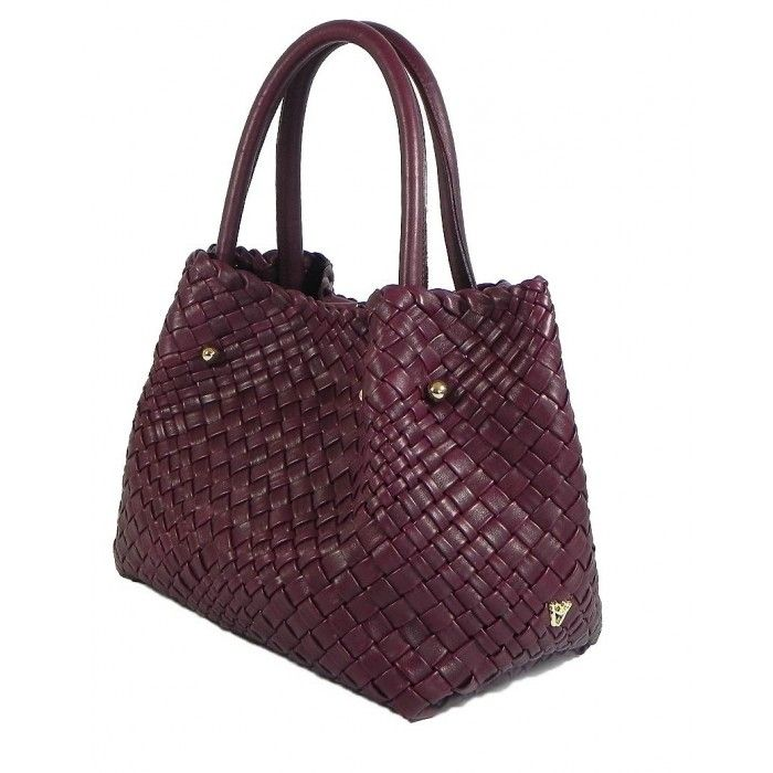 Ghibli Luxury Handmade Women Leather Handbag Tote Aubergine Color