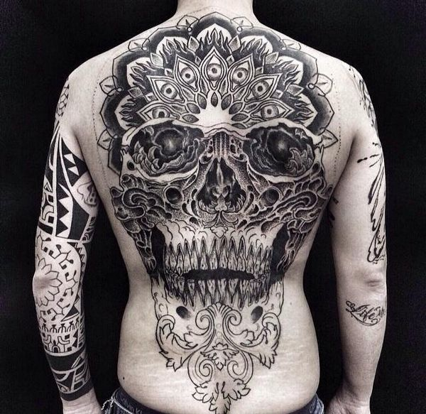 Full Back Skull Tattoo Unfinished Yet Already Stunning