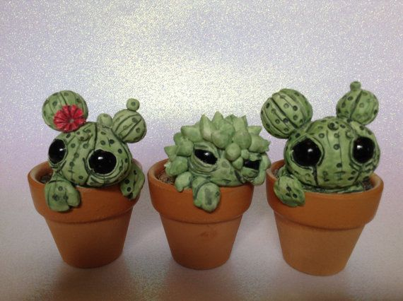 Customized Cactus Sculptures Cute Polymer Clay by PlayfulPixieCreation