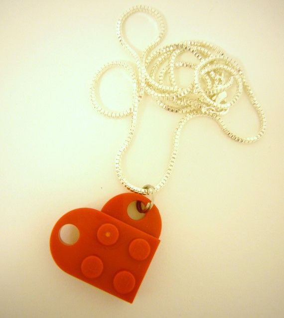 Red LEGO Brick Heart Necklace Valentine or Friends by AbbieDabbles, $7.00