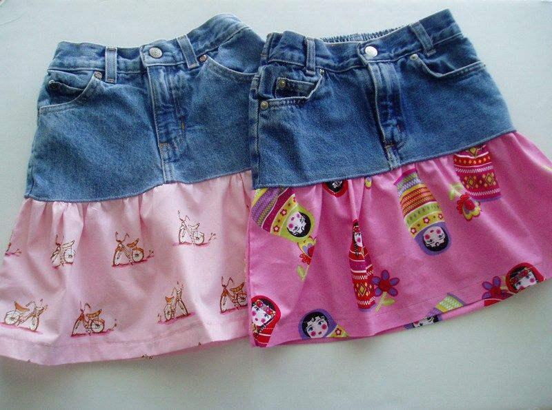 Skirt Made From Denim Jeans   Today I have a fun project for you: a recycled jeans skirt. This ...