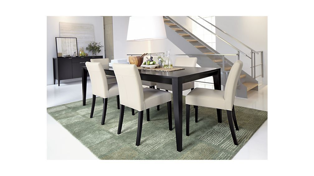 Lowe Ivory Leather Dining Chair Expandable Dining Table