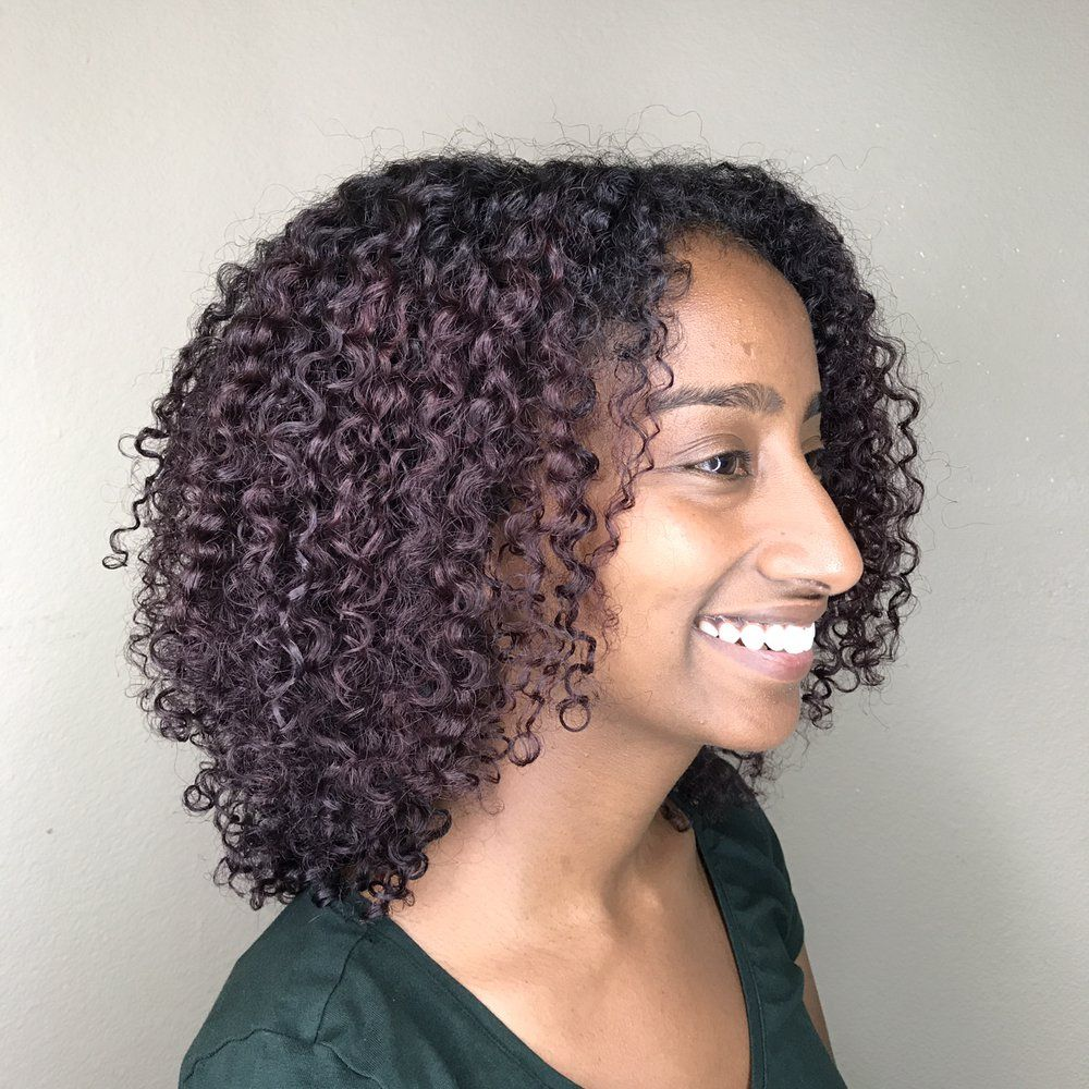 Deep red brown color on curly hair by jennifer freesia red brown