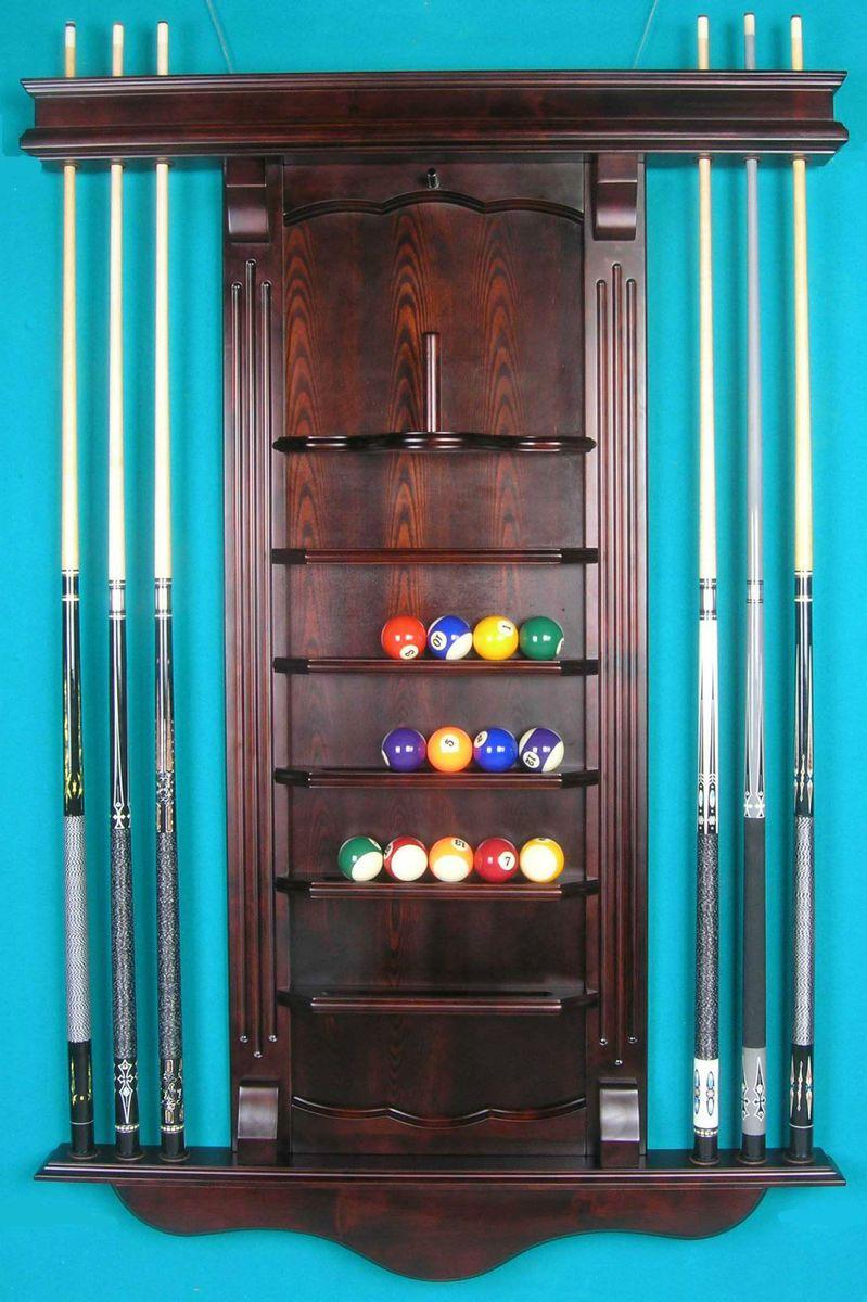 Solid Oak Wood Pool Table Billiard Cue Wall Rack Cherry