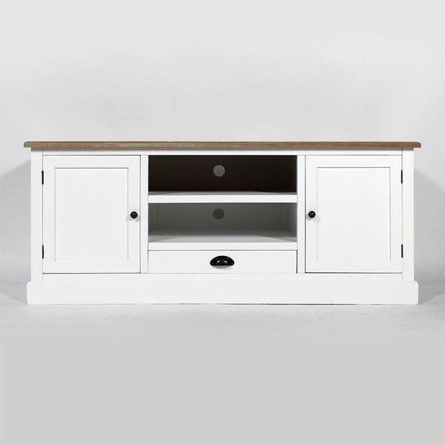 Meuble TV blanc, plateau bois | FCJ02 MADE IN MEUBLES | meubles tv ...