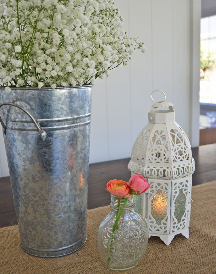 French Market Metal Vase With White Wash Metal Vase Vase Rustic Flower Arrangements