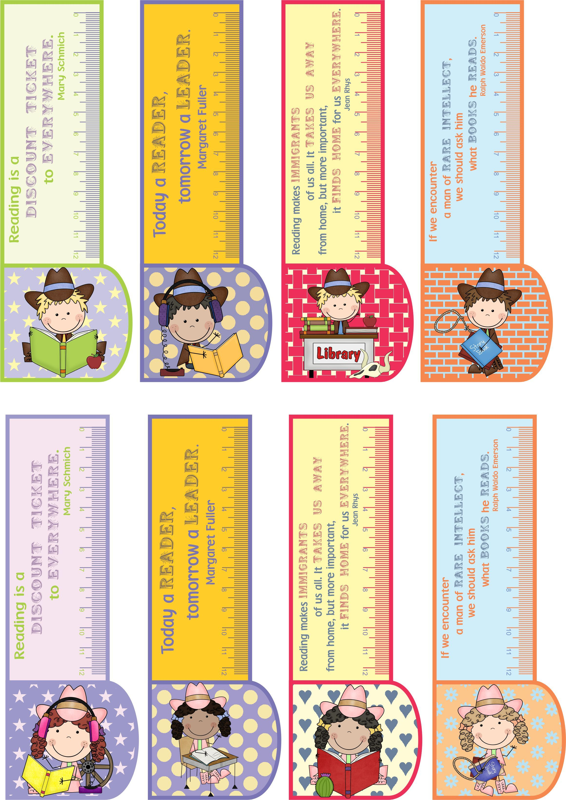 Printable BOOKMARKS COUNTRY GIRL/BOY 3in1: bookmark +ruler + ...