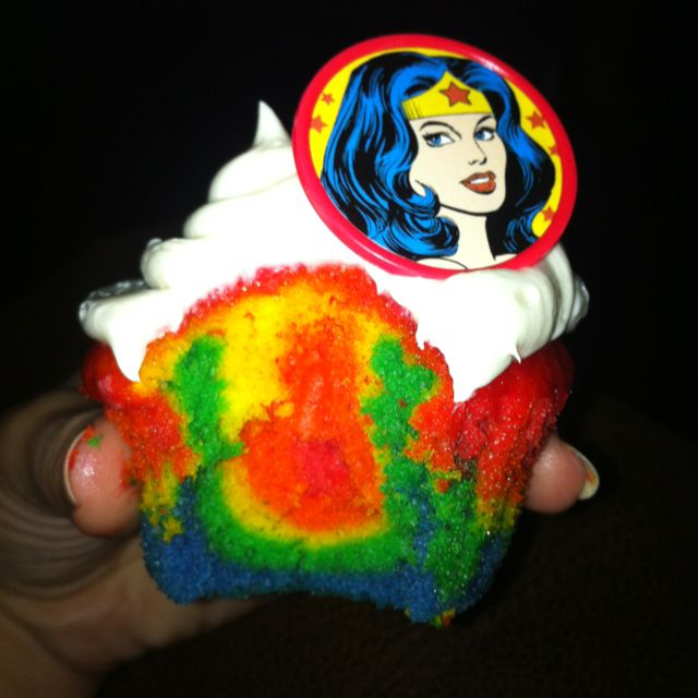 Wonder Woman Rainbow Cupcakes!! Happy 19th birthday to me!