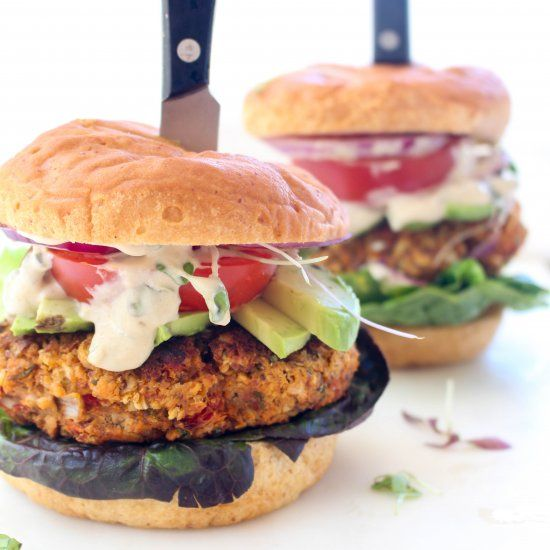 These Mediterranean Chickpea Burgers are a big juicy flavor party. Perfect gluten free and vegan barbeque option!