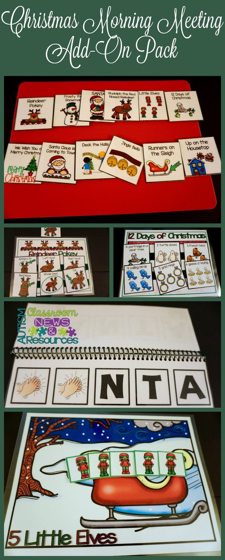 These are 5 Christmas-themed morning meeting activities that are perfect for preschool, early childhood and special education. They emphasize communication and choice making as well as sequencing and active participation. $