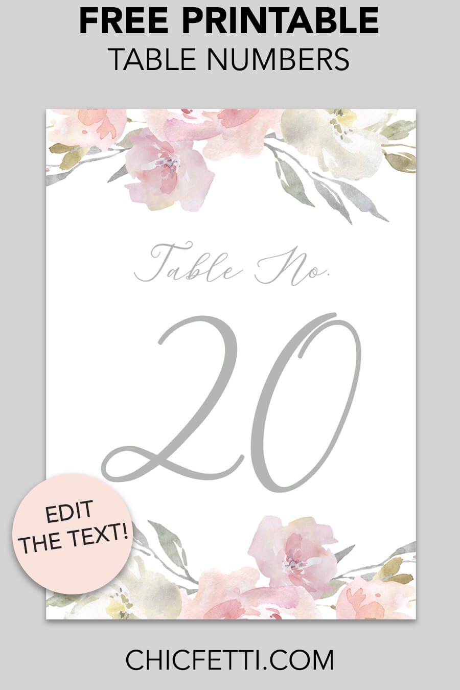Printable Table Numbers Blush Floral Free Wedding Table Numbers Wedding Table Numbers Printable Printable Place Cards Wedding