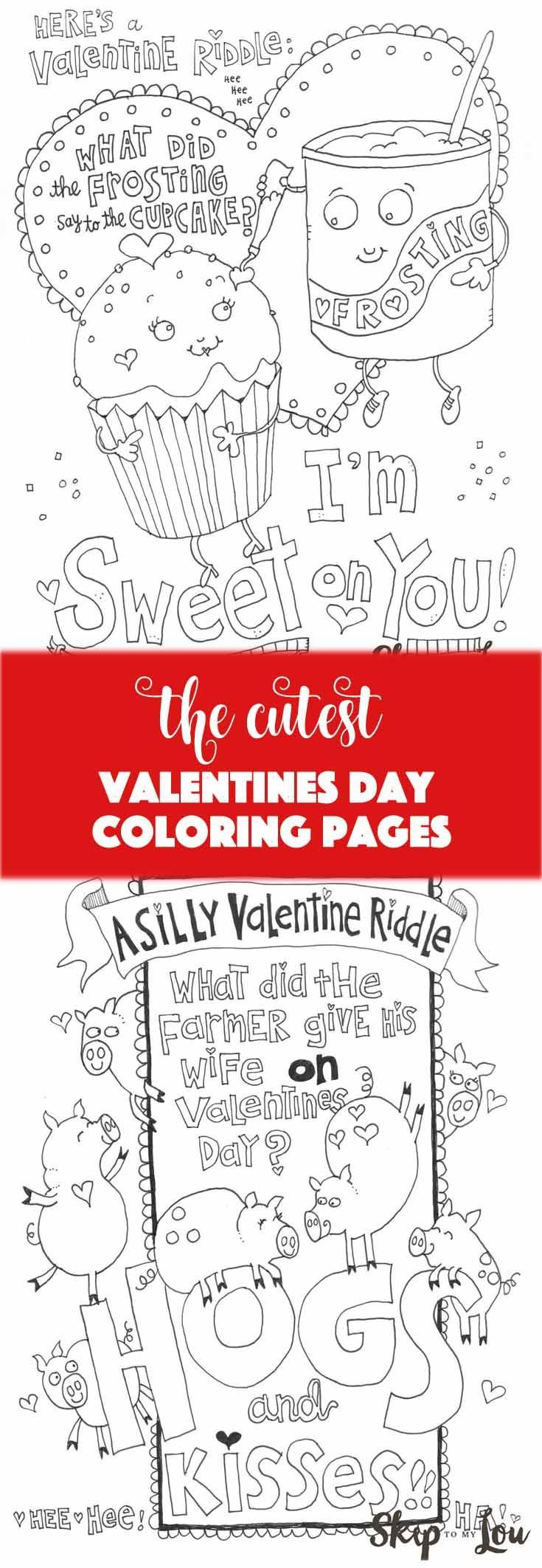 Free Valentine\'s Day coloring pages! Perfect for a class party or ...