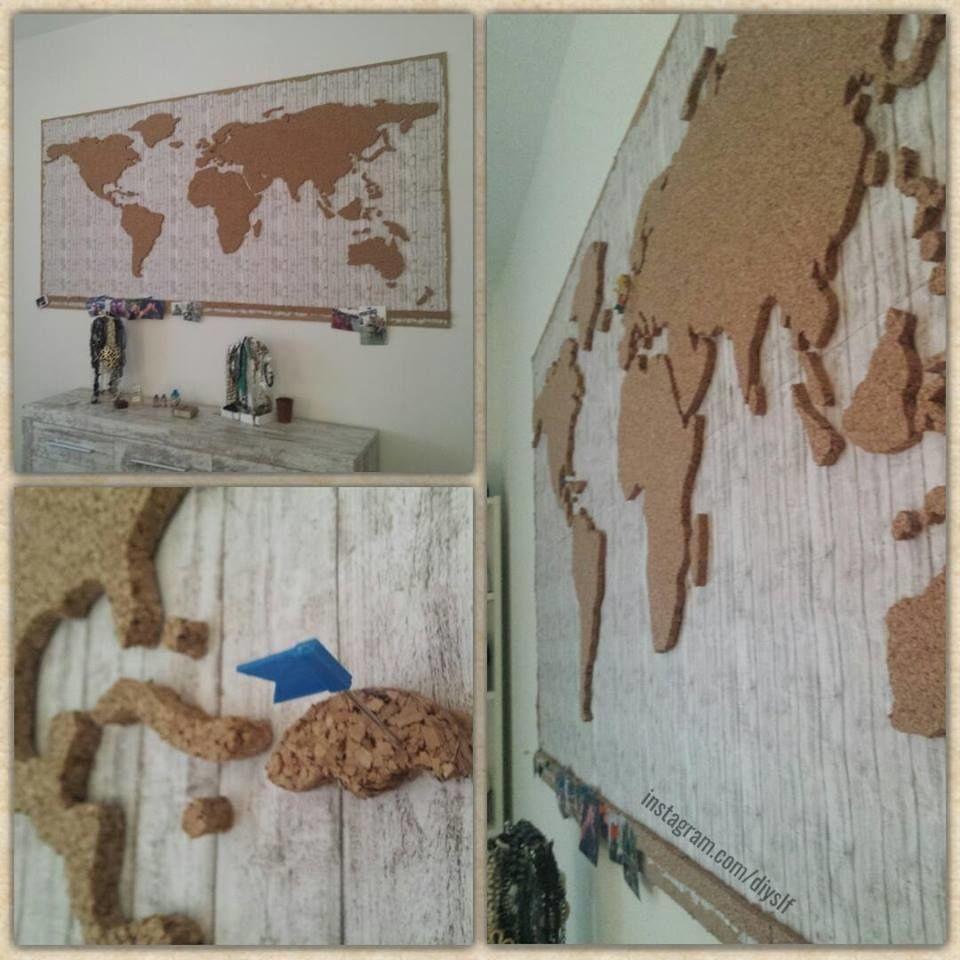 Eine weltkarte mit korkkontinenten so kann man mit for Weltkarte mit fotos