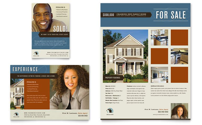 Real Estate Agent & Realtor Flyer & Ad Template Design Graphic