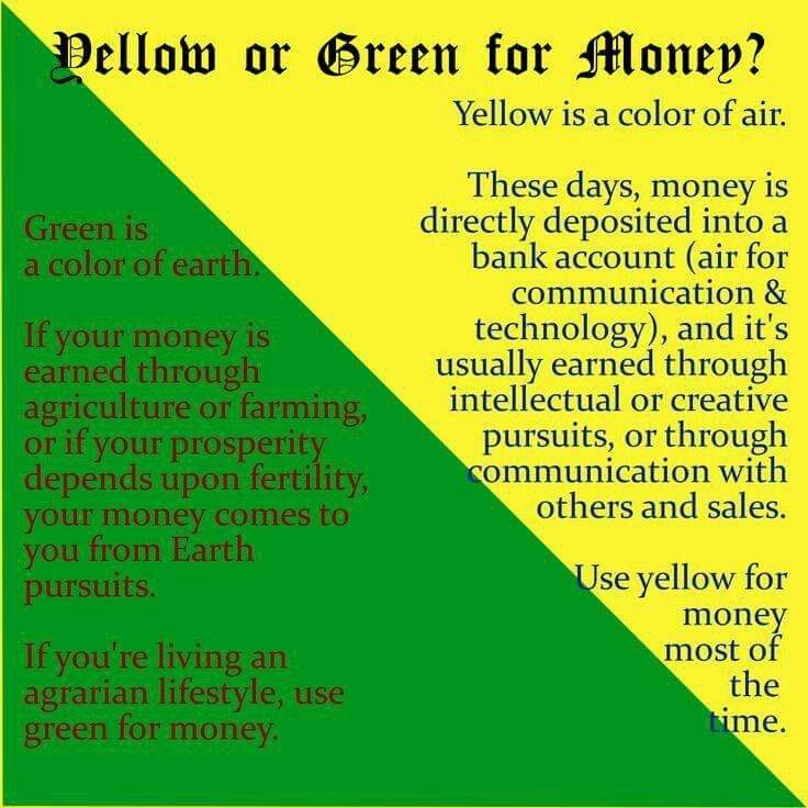 Yellow or green for money