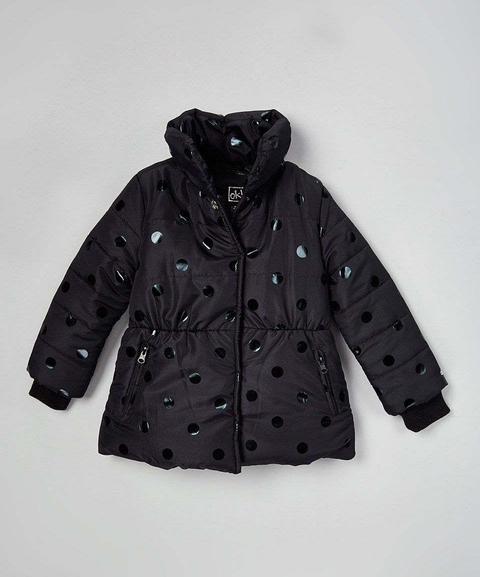3d04bf801a2d Another great find on  zulily! OK Kids Black Polka Dot Puffer Coat ...