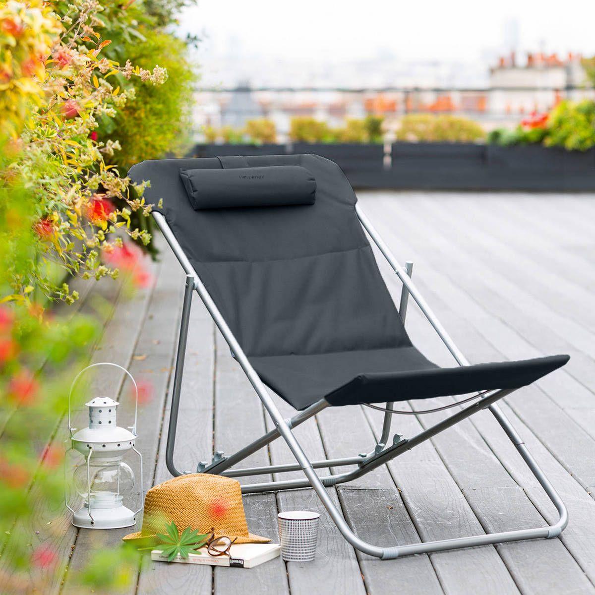 Chilienne De Jardin Pliante Bilbao Ardoise Petite Terrasse Chaise Longue Meubles De Jardin Design