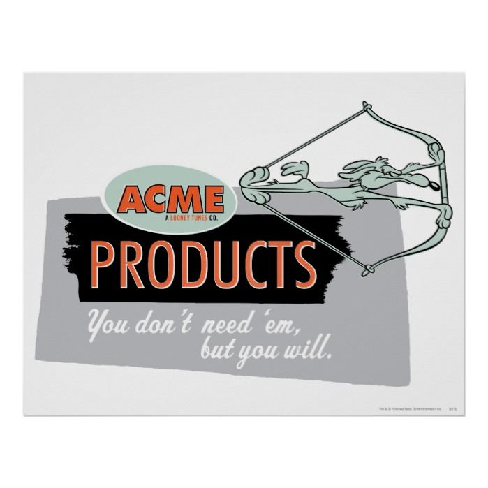 Wile E Coyote Acme Products 9 Poster in 2020