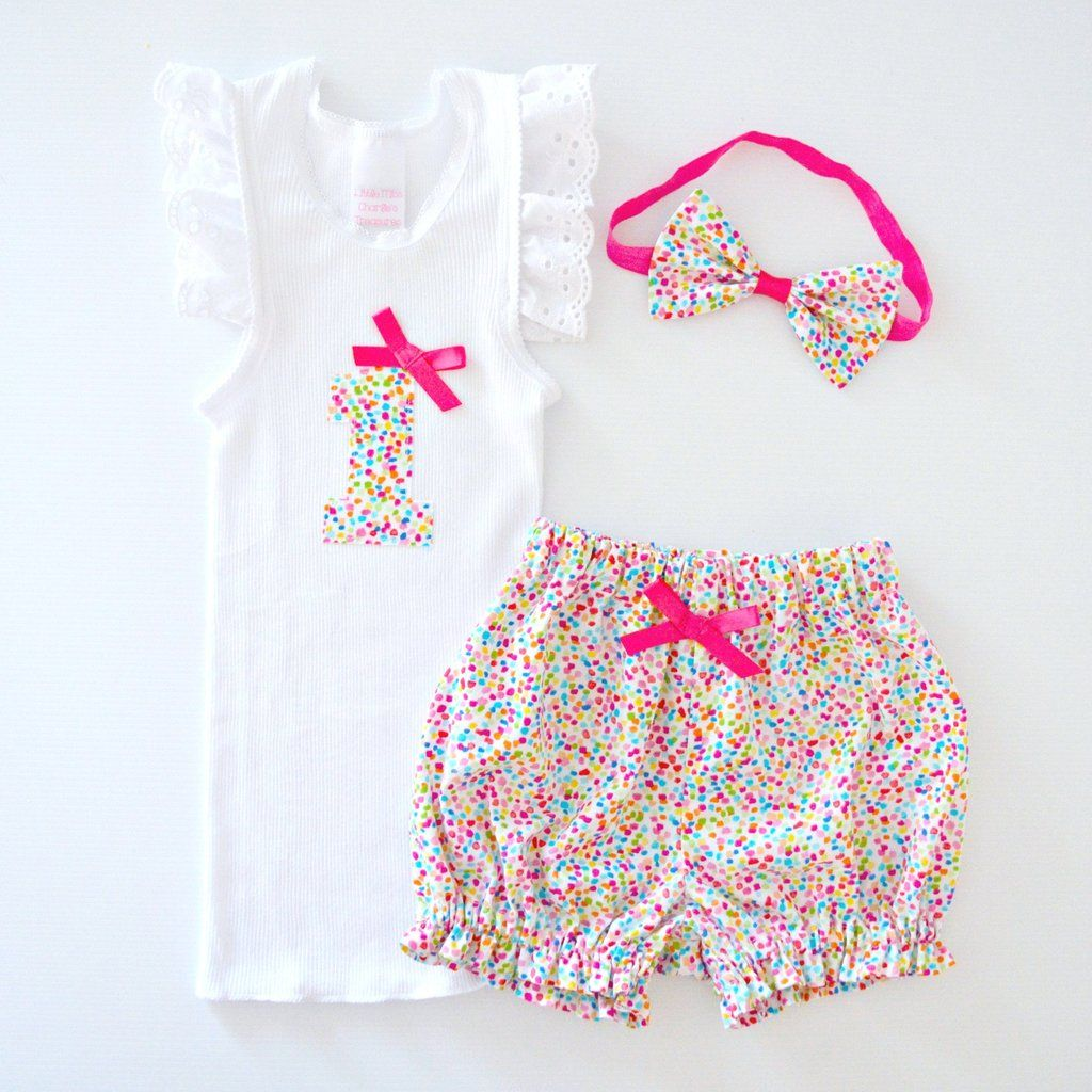 1st Birthday Outfit or Cake Smash Set Bright Rainbow