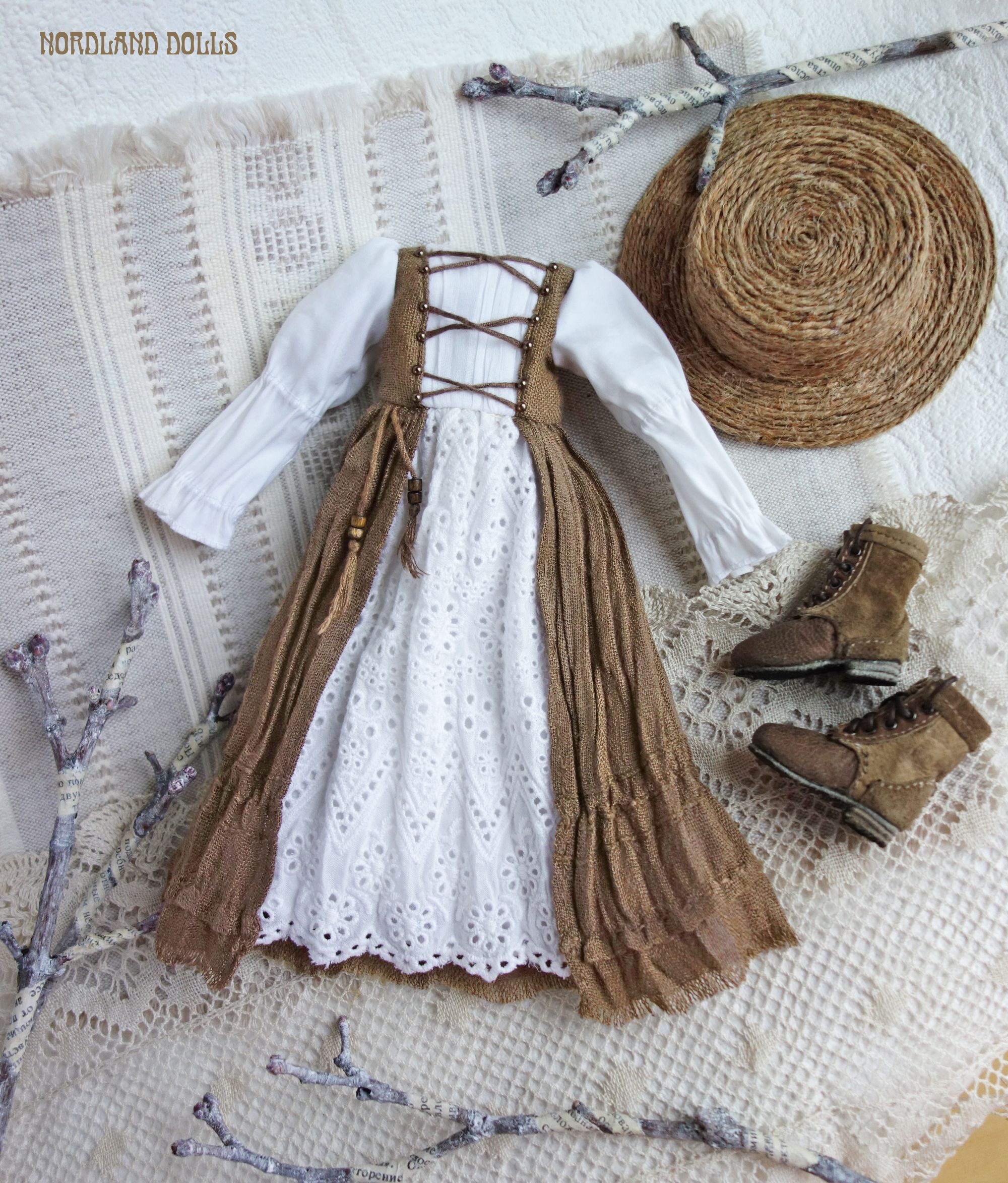 Rustic brown and white Boho Mori style dress and boots for Soom iMda doll 3.0 by Nordland Dolls #dollclothes