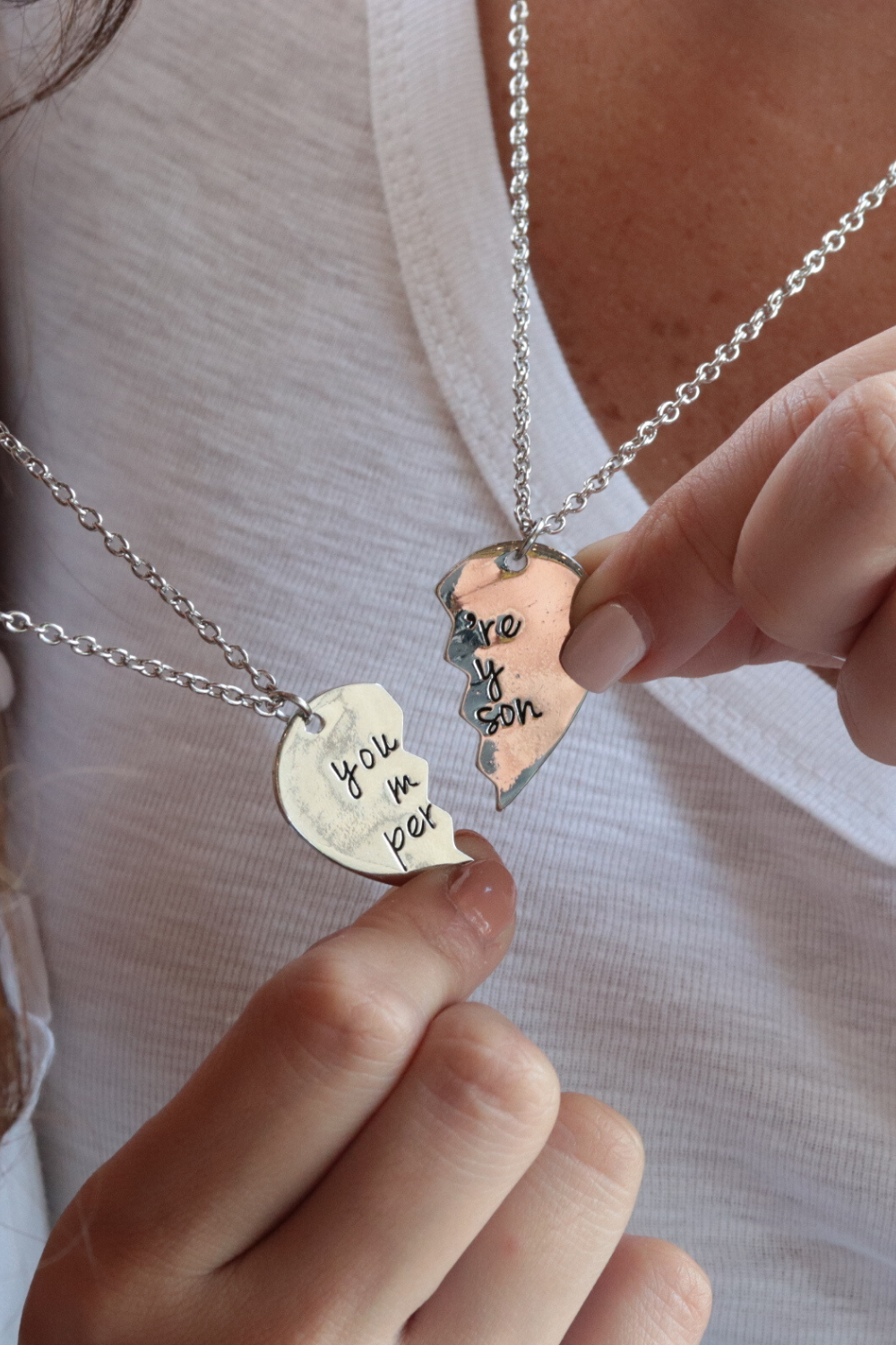 You Are My Person Necklace Personalized Couples Necklace Set Etsy Personalized Necklace Couples Personalized Couple Friendship Gifts