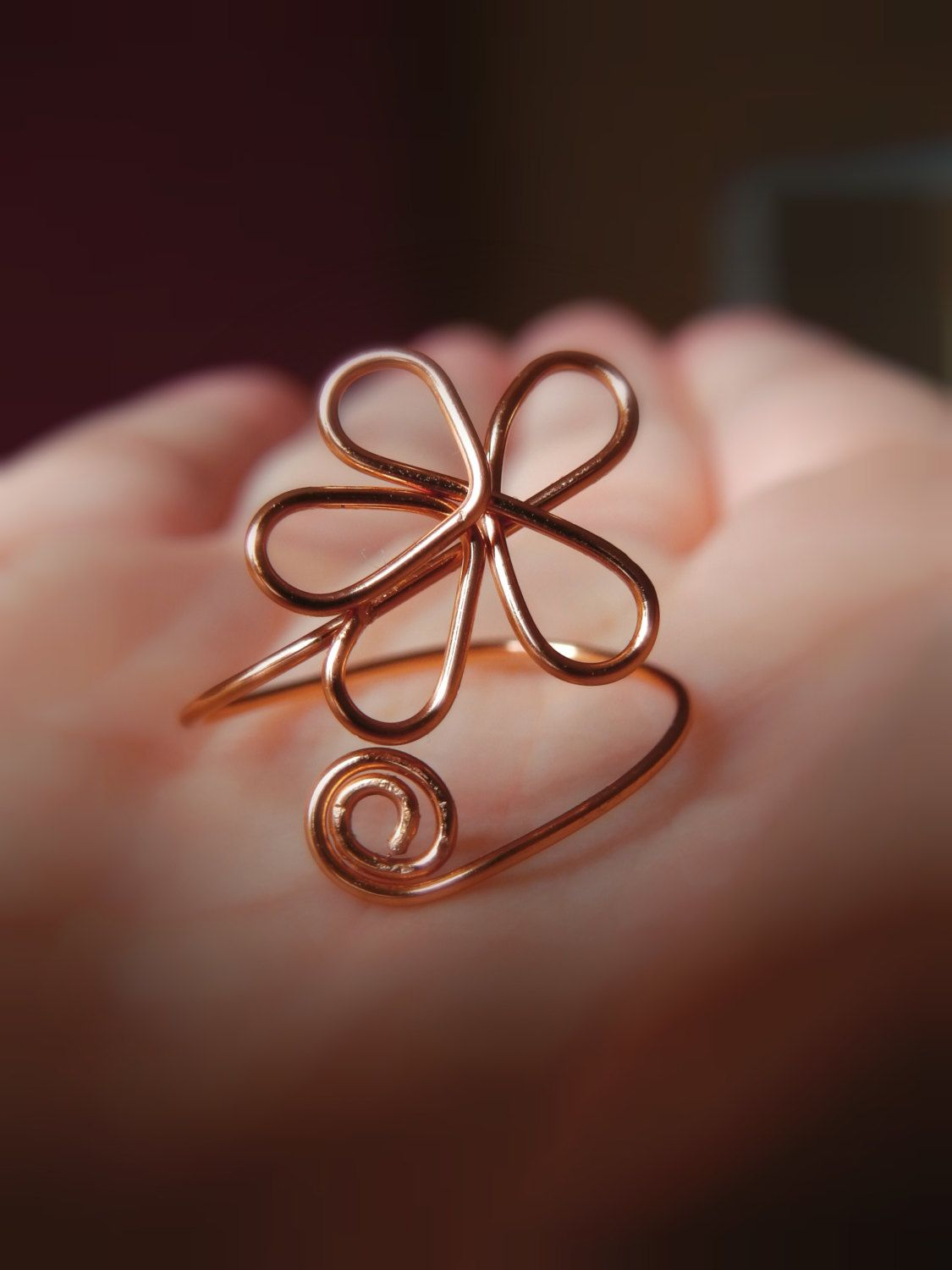 Flower Ring, Copper Wire Jewellery, Adjustable Wire Ring, Floral ...
