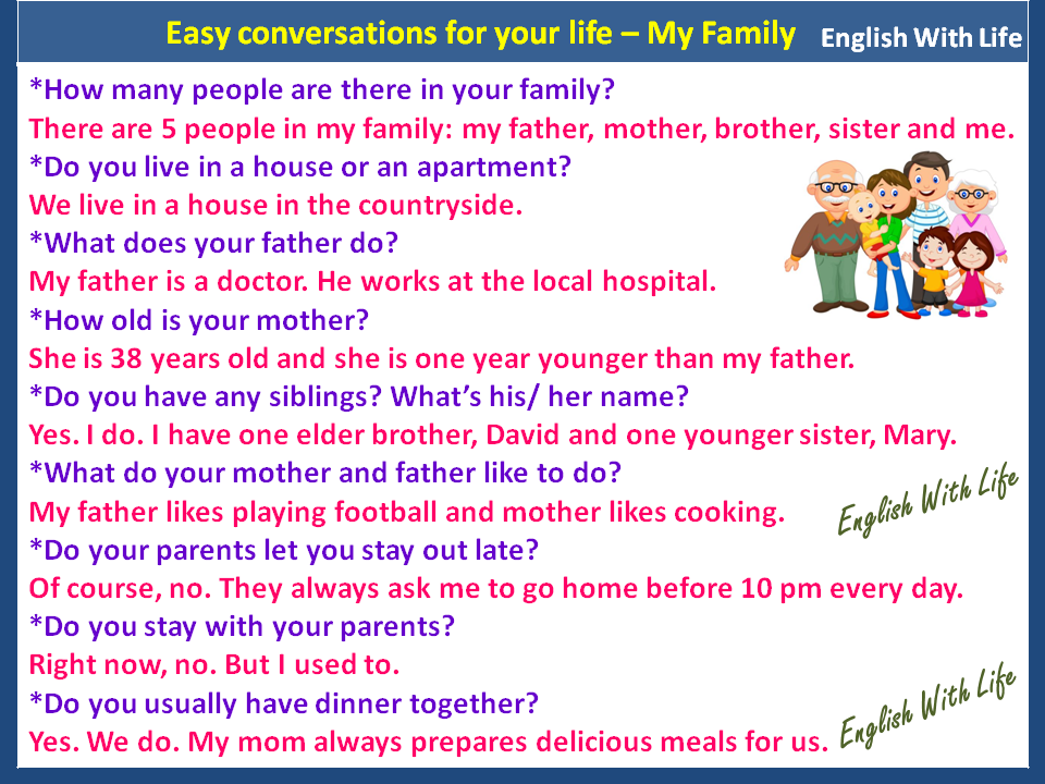 Phrases Easy Conversations For Your Life My Family Learn English English Phrases English Language Learning
