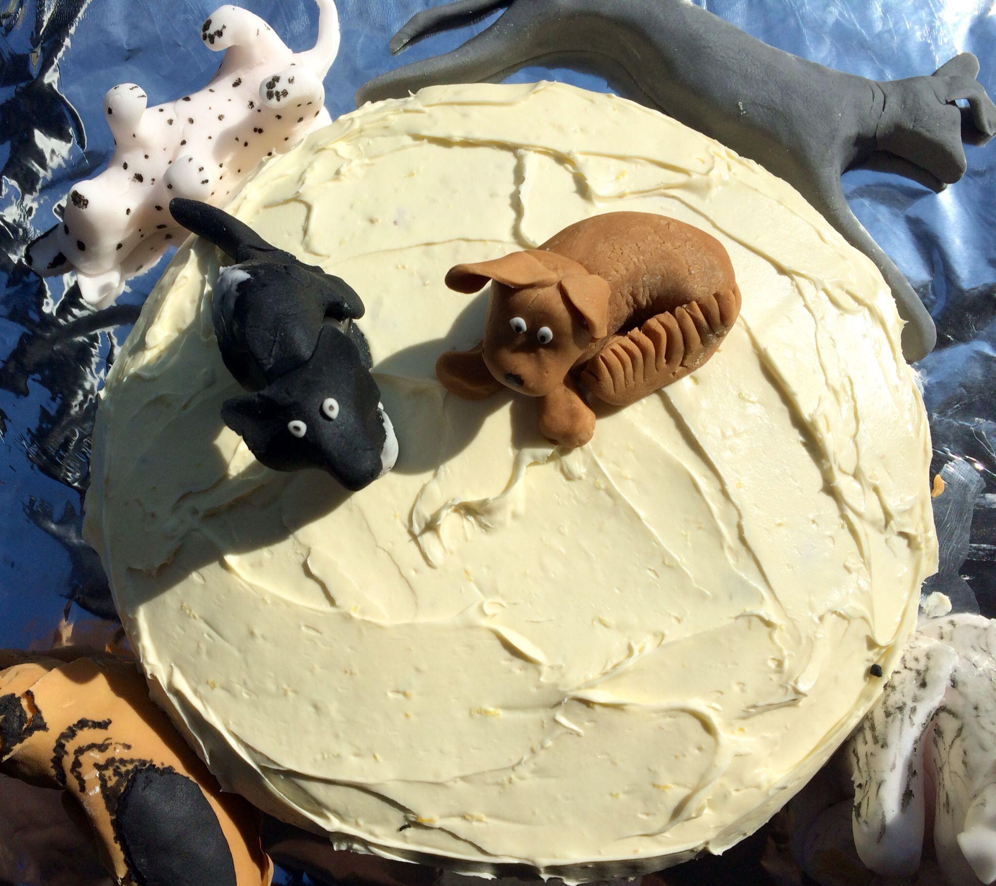 Lemon sponge dog lover's birthday cake