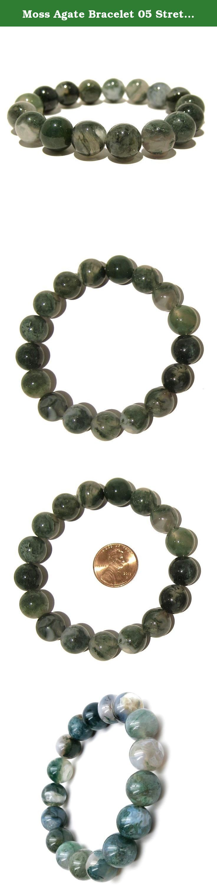 Moss Agate Bracelet 05 Stretch 11-12mm Green Crystal Healing Stone Round (Gift Box) (6.75 Inches). Moss Agate Stretch Bracelet Natural Moss Agate stones are beaded on your new crystal healing bracelet. These are high-quality, translucent Agates full of green moss-like inclusions and white mineral patches. The Moss Agate is polished into smooth, round 11mm to 12mm beads. The round beads are strung on sturdy stretch cord to create your chunky new Moss Agate bracelet. Moss Agate healing...
