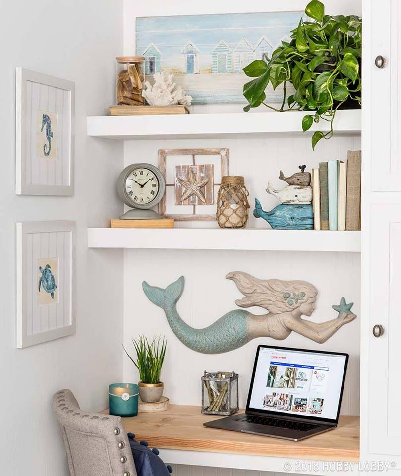 Coastal Style Desk With Shelving And Beach House Decor Beach