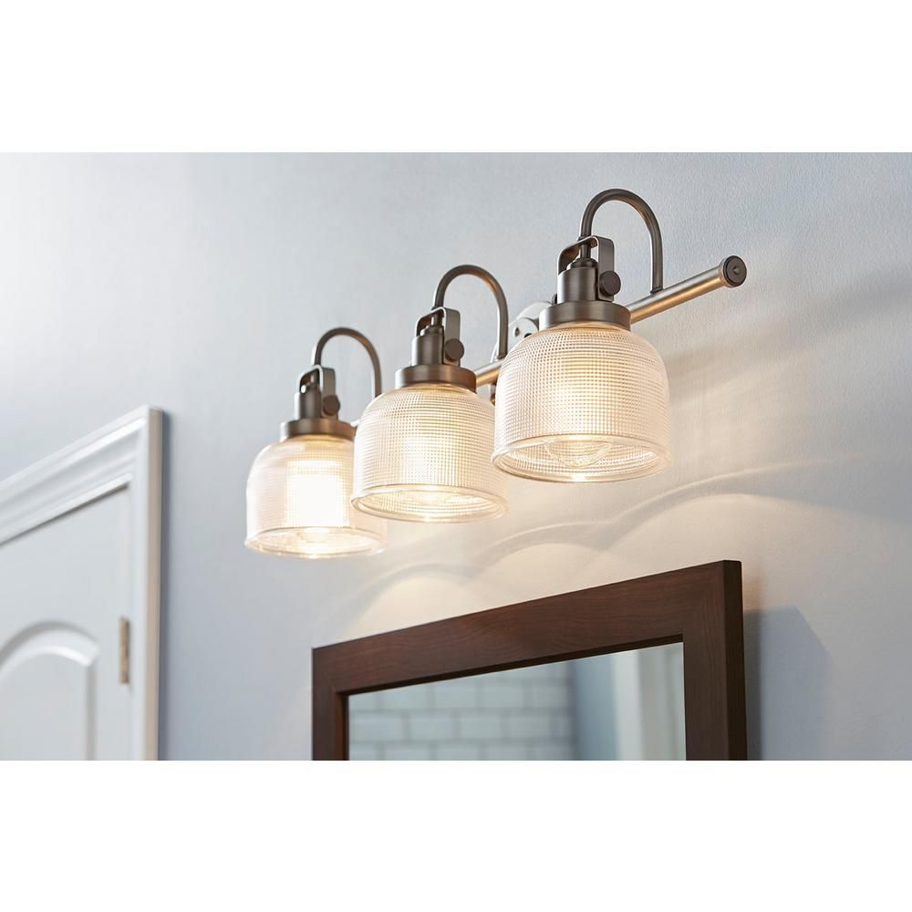 Progress lighting archie collection 3 light antique nickel vanity progress lighting archie collection 3 light antique nickel vanity light with clear polished glass shades aloadofball Image collections