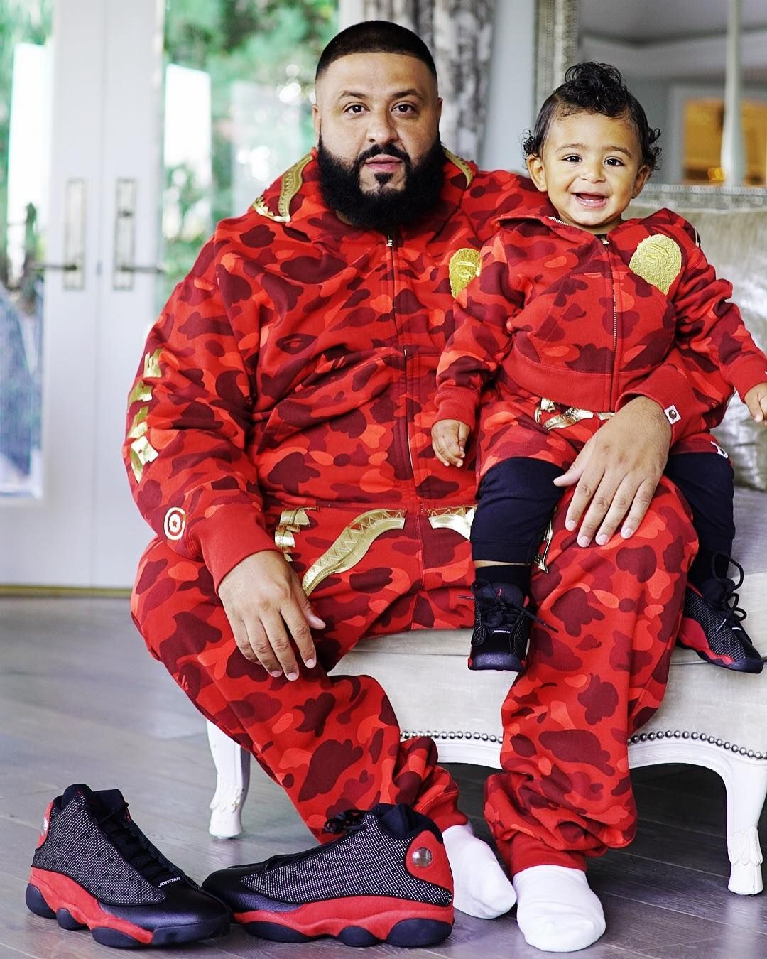low priced adf57 859aa DJ Khaled and Asahd Rock Matching BAPE Outfits. Super Cute Mini Me Look.  Amazing Streetwear Look.  kidsfashion  streetwear  djkhaled  celebrity   cute ...