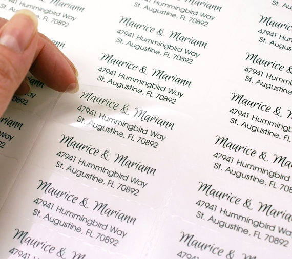 Custom Print Return Address Or Message Labels 2 5 8 X 1 Clear Rectangle Small Business Wedding Invitation