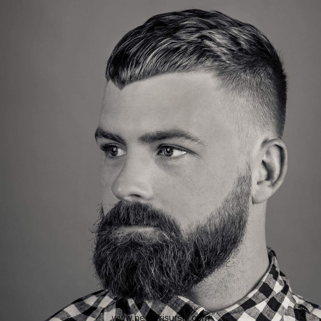 Abgewinkelten Pony  Bartstile für männer, Fade-haarschnitte für