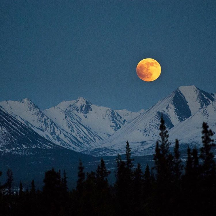 Moon Over The Rocky Mountains In Winter Mountains At
