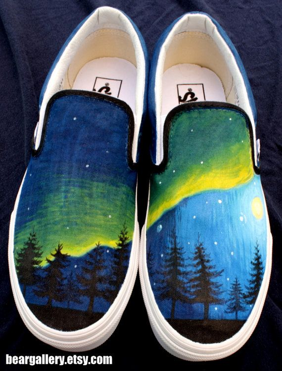 Custom Painted Aurora Borealis Vans Shoes Hand Painted