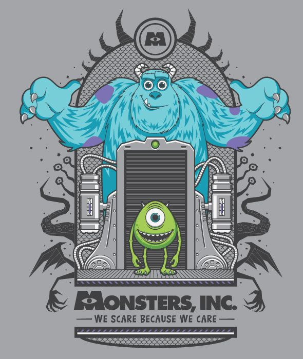 Monsters Inc. T-shirt by Fernando Regalado, via Behance