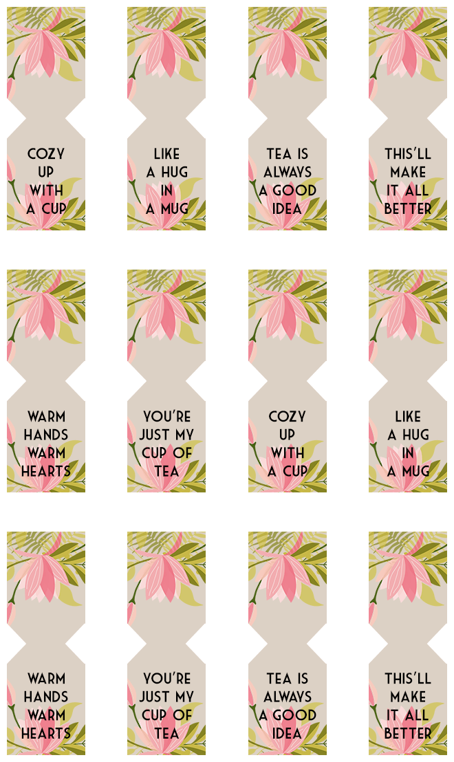Floral free printable tea bag tags pinterest free for Tags for gift bags template