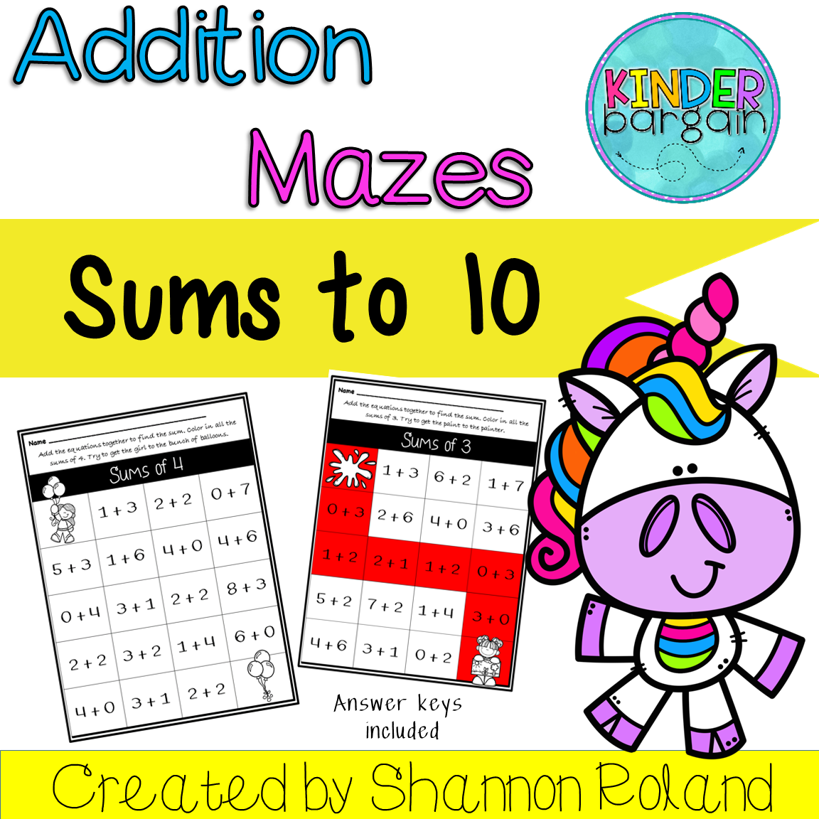 Addition Worksheets Sums To 10 Mazes With Images