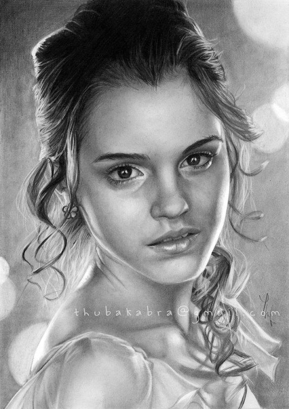 Emma watson art print of pencil drawing by for Black and white celebrity prints