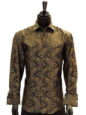 Manzini Men Gold Black Paisley High Collar ButtonDown