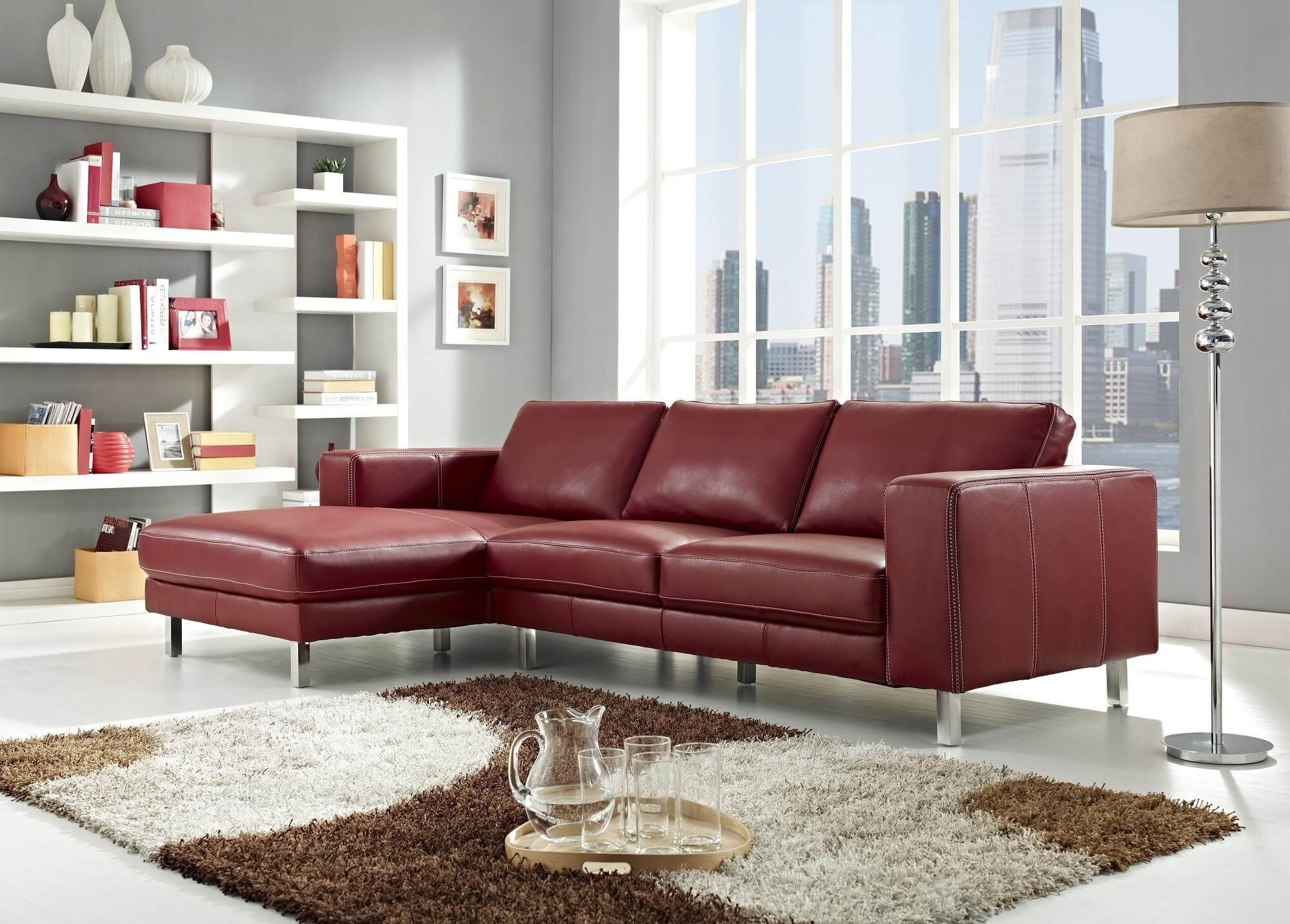 18 Stylish Modern Red Sectional Sofas  Leather Sofas Simple Unique Living Room Designs With Leather Furniture Design Ideas