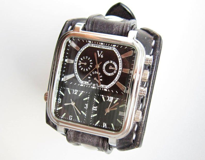 Schwarzes Leder Uhr Manschette Herren Armband Uhr Armbanduhr