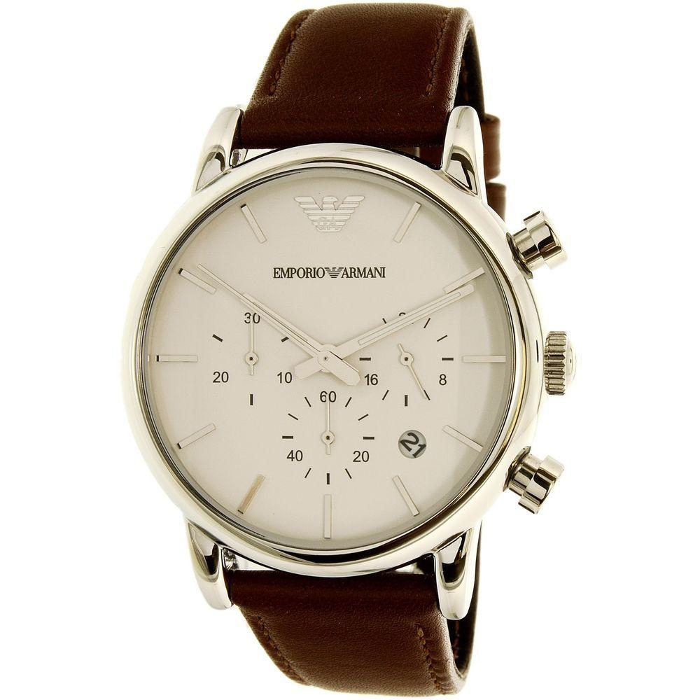 b7ec61bd8 Emporio Armani Men's Classic AR1846 Brown Leather Japanese Quartz Fashion  Watch