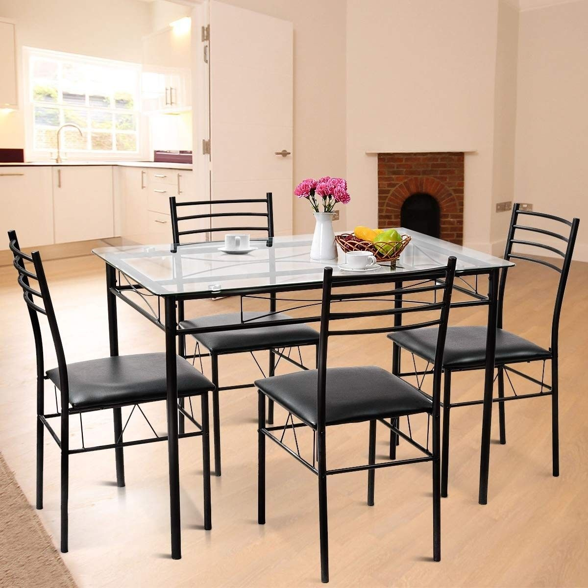 5 Pieces Dining Set Tempered Glass Top Table 4 Upholstered