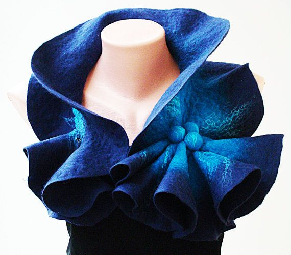 Felted Wool Scarf-Neckpiece-Collar. Dark blue & bright blue shibori scarf.  Large size Organic eco scarf. Winter Accessories. For her.