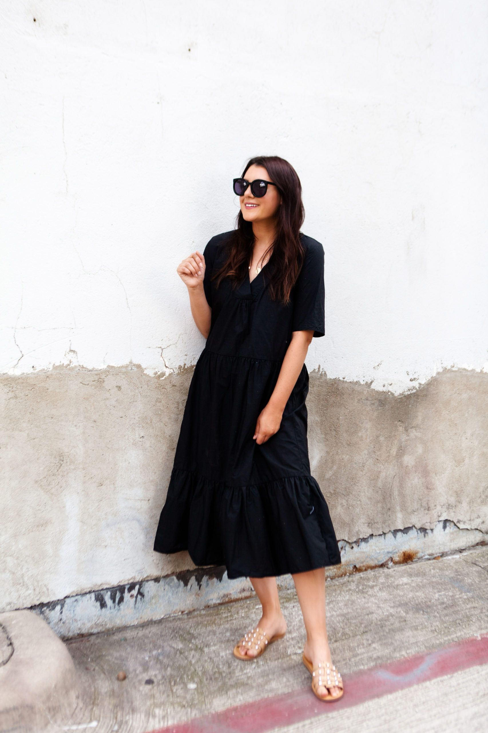 How To Style Black Dresses For Summer Kendi Everyday Loose Black Dress Summer Dress Outfits Summer Dresses [ 2560 x 1706 Pixel ]