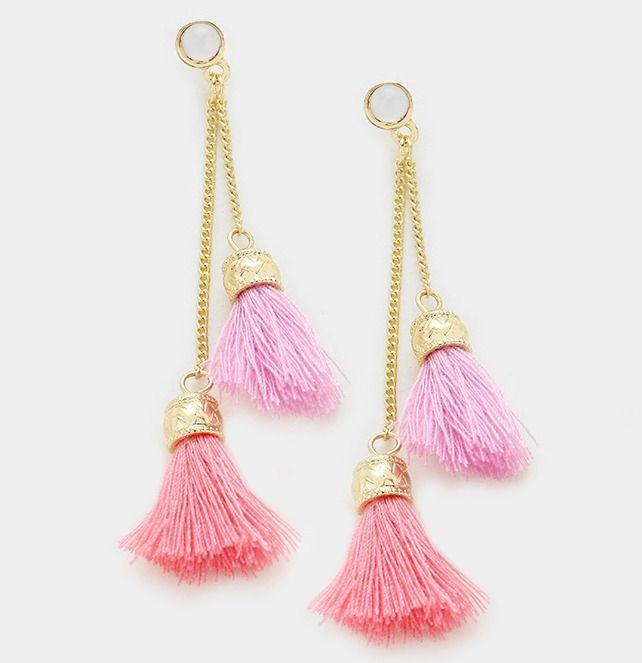 Pink Long Tassel Earrings Gold Metal Cap and Hook (pink 2) ia19ClPQ